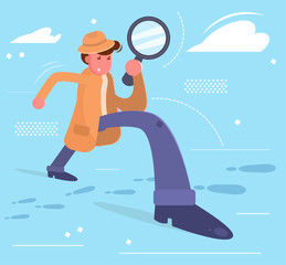 Detective looks through a magnifying glass on the tracks
