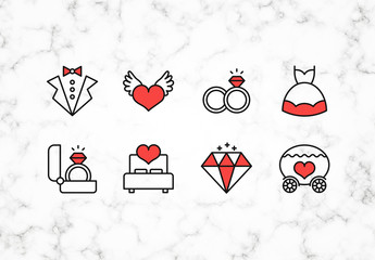 Black and Red Line Art Wedding Icons Set