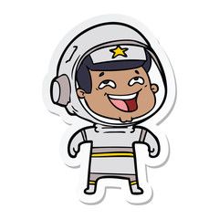 sticker of a cartoon laughing astronaut
