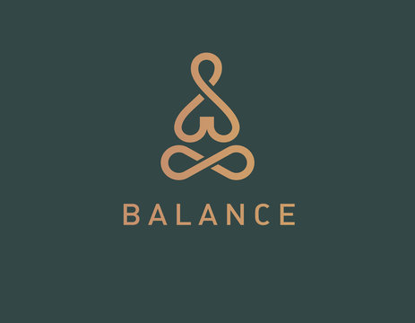 Geometric logo linear icon yoga person balance