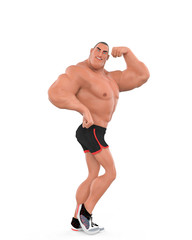muscle man cartoon in an white background