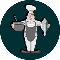 Sign, signboard. The character from the set of cook for decoration. A cheerful cook in uniform, cap and glasses holds a pot of soup in one hand and fresh fish in the other. Vector illustration.