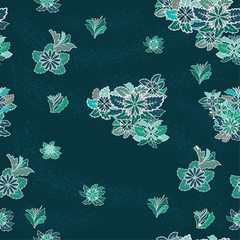 Seamless vector pattern with contour flowers on a dark blue background.