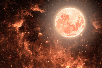 Wall Mural - backgrounds night sky with stars and moon and clouds. Coral color.