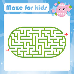 Color oval labyrinth. Kids worksheets. Activity page. Game puzzle for children. Cute cartoon egg. Holiday Easter. Maze conundrum. Vector illustration. With place for your image.