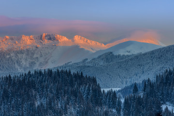 sunset in Bucegi Mountains, Romania