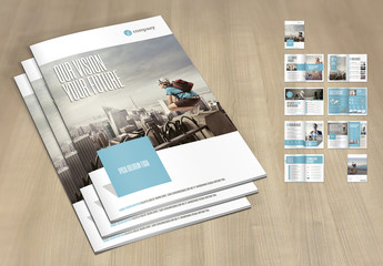 Business Brochure Layout with Pale Blue and Gray Accents