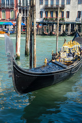 The gondolas parked along the grand canal Venice Design in Venice, Italy