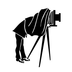 Label  Photography Club. Vintage photographer and ancient camera. Classic logo, vector black and white silhouette. Retro  emblem design