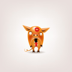 The symbol of the year for Valentine's Day - a funny orange pig, stuck with a kiss on the forehead, poses on a light background. Vector illustration.