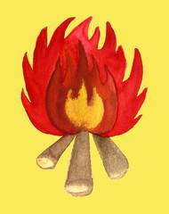 sun pancake fire illustration