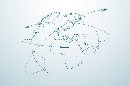 Airplane line path with map
