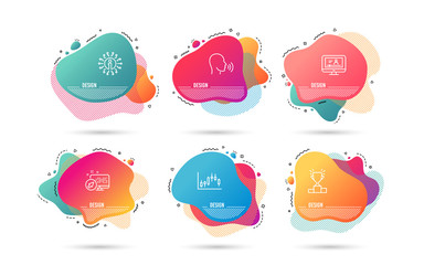 Dynamic liquid shapes. Set of Winner podium, Human sing and Candlestick graph icons. Online video sign. Competition results, Talk, Finance chart. Video exam.  Gradient banners. Fluid abstract shapes