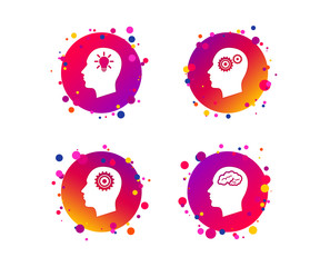 Head with brain and idea lamp bulb icons. Male human think symbols. Cogwheel gears signs. Gradient circle buttons with icons. Random dots design. Vector