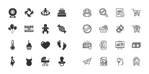 Set of Maternity, Pregnancy and Baby care icons. Video monitoring, Child and Pacifier signs. Footprint, Birthday cake and Newborn symbols. Paper plane, report and shopping cart icons. Group of people