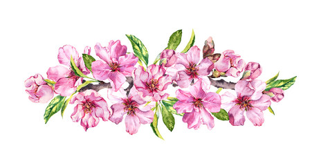 Spring time flowering composition. Peach, almond, plum, cherry, sakura flowers, pink apple blossom. Gentle watercolor