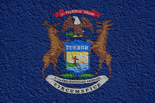 US State Politics Or Business Concept: Michigan Flag Wall With Plaster, Background Texture
