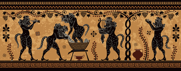 Ancient greek painting.Pottery art.Stylized ancient greek background. Mediterranean culture.Deities and heros of antique greece. Wall mural