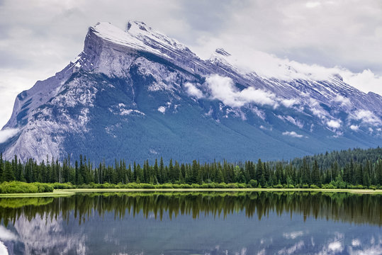The Mountains and Vermillion Lake at Banff National Park in Alberta Canada