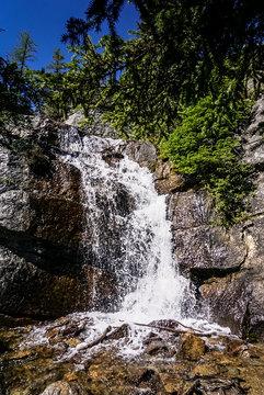 Waterfall on the Tea House Trail in Banff National Park in Alberta Canada