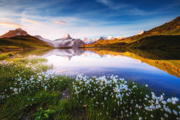 Wall Mural - Captivating scene of the snow rocky massif. Location place Bachalpsee in Swiss alps.