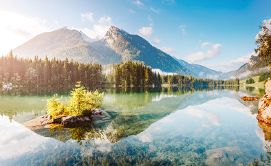 Famous tourist attraction of calm lake Hintersee. Wall mural