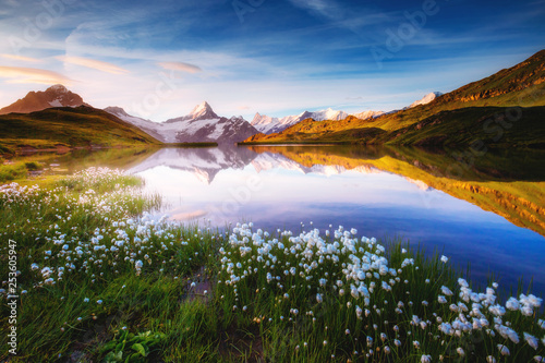 Wall mural Captivating scene of the snow rocky massif. Location place Bachalpsee in Swiss alps.