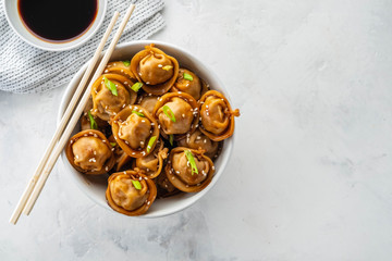 Fried dumplings with soy sauce with pepper and green onions. Asian cuisine. Copy space.