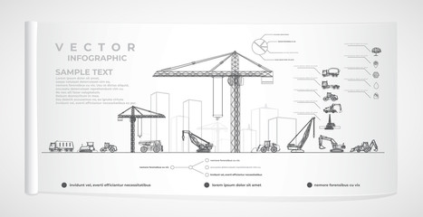 Vector construction equipment and city infographics. Wall mural