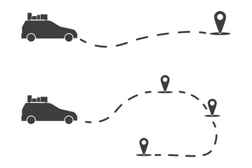 Icon auto navigator traveler. Monochrome illustration of a car moving along a certain route. Vector on white background.