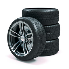 3d tires and alloy wheels on white background