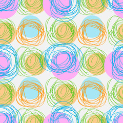 Abstract geometric seamless patternscribble circles texture. Hand drawn vector illustration