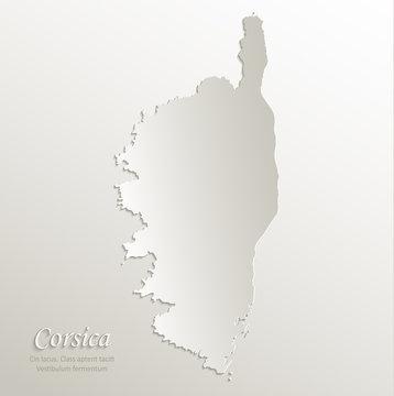 Corsica map island card paper 3D natural vector