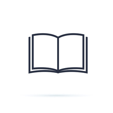 Book icon vector. Open Book symbol. Cool vector flat design illustration on reading with abstract line open book.