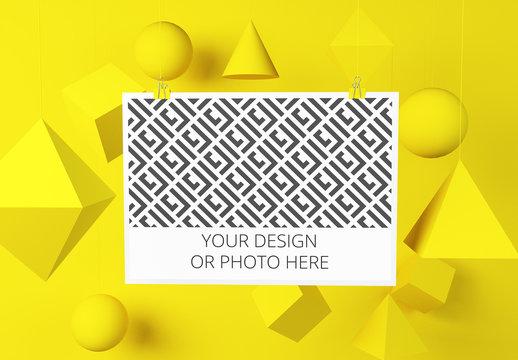 Horizontal Poster in Geometric Scene Mockup
