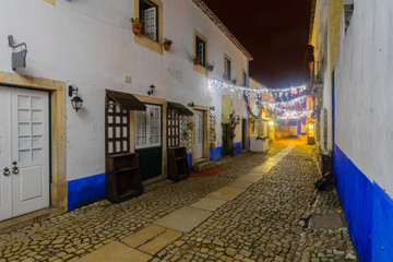 Alley in the old town, with Christmas decorations, Obidos