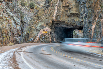 mountain road with tunnel