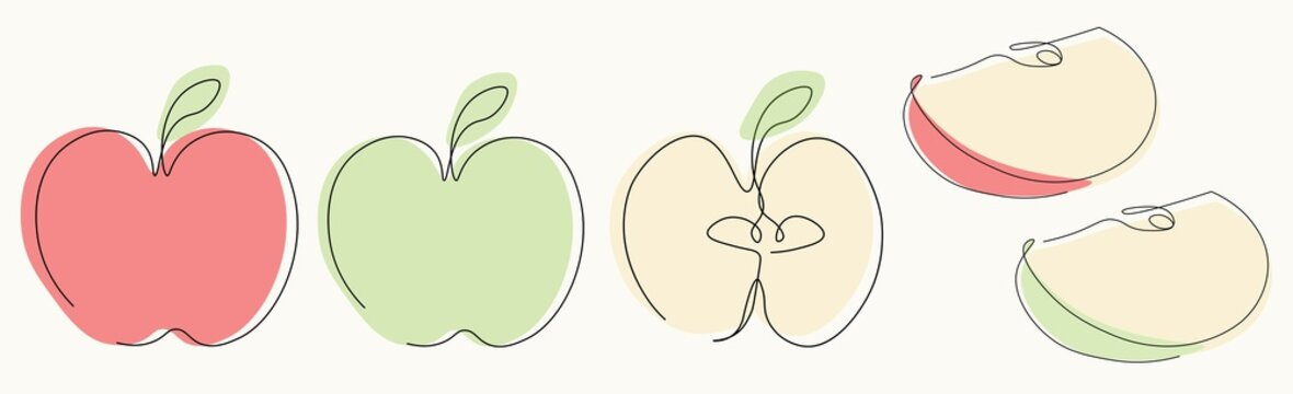Apple icons on white background one line drawing, vector illustration