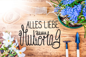 Sunny Spring Flowers, Calligraphy Muttertag Means Happy Mothers Day