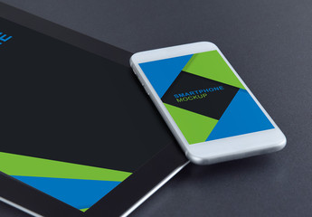 Smartphone and Tablet on a Dark Background Mockup