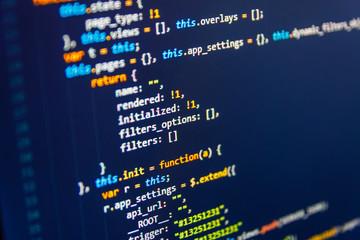 Source PC website developer. Real software development code. JavaScript code in text editor. ...