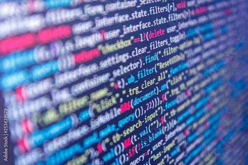 Flat design, web development  JavaScript code in text editor