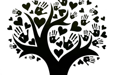 Tree whose leaves are depicted in the form of palms and hearts. The concept of peace, unity, friendship and love. Black and white design with copy space. Global teamwork help concept.