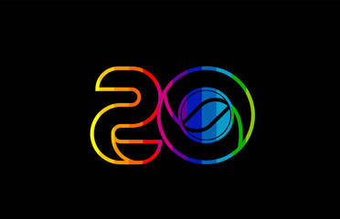 rainbow color colored colorful number 20 logo icon design