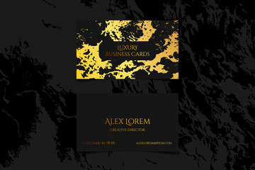 Luxury business card with marble texture and gold detail vector template, banner or invitation with golden foil on black background. Branding and identity graphic design.