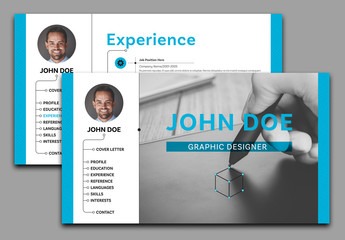 Interactive PDF Resume Layout with Blue Accents