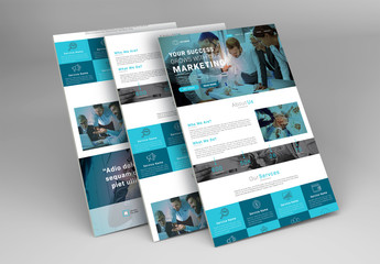 E-Newsletter Layout with Blue Accents