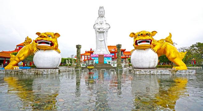 Bodhisattva and Guardian Lion, Da Fo Temple of Keelung City, landmark in Keelung, Taiwan