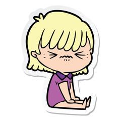sticker of a annoyed cartoon girl sitting