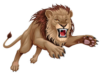 Papiers peints Chambre d enfant Angry lion is jumping